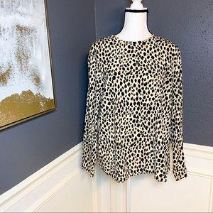 Dana Buchman silk boatneck leopard blouse